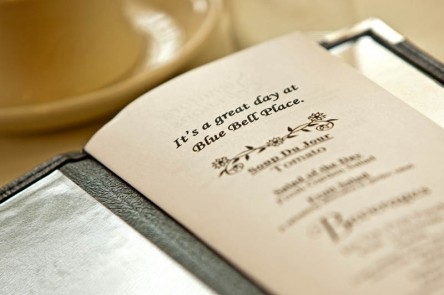 Blue Bell Place dining menu