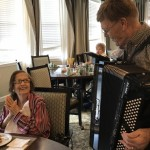 Evelyn enjoying the accordion.