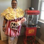 Best costume award went to Carolyn for her homemade popcorn costume!